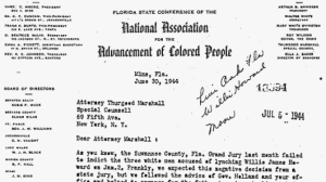 Letter from NAACP field secretary, Harry Moore to NAACP general counsel, Thurgood Marshall