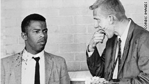 James Zwerg and John Lewis in 1961 after being beaten at the bus station in Montgomery, AL (1961)