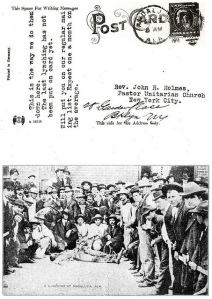 Postcard of lynching sent to Rev. John Haynes Holmes