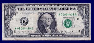$1 bill with the signature of Azie Taylor-Morton.  Her signature is on the lower left side.
