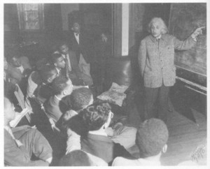 Albert Einstein lecturing on the theory of relativity at Lincoln University in 1946